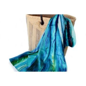 Custom 100% Silk Satin Crinkle Hand Printed Lady Scarf pictures & photos