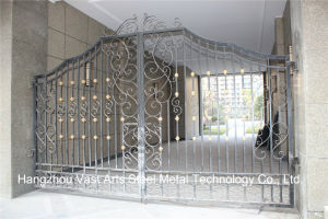 Haohan High-Quality Exterior Security Decorative Wrought Iron Fence Gate 6 pictures & photos