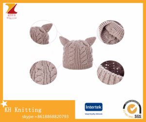 Winter Warm Knit Hats with Cute Cat Ears pictures & photos