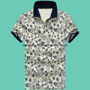 High Quality Slim Flower Printing Gentle Men Polo Shirt Golf Clothes pictures & photos