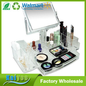 Luxury Cosmetic Makeup Acrylic Display Organizer with Two-Sided Mirror pictures & photos
