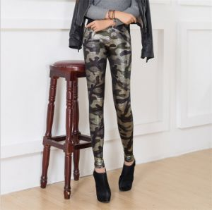P1231 Ladies Camo Print PU Leather Leggings with Snakeskin Like Pattern pictures & photos