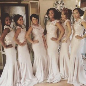 Mermaid Evening Prom Dress Sheer Lace-Neck Champagne Bridesmaid Dresses Z3049 pictures & photos