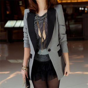 Ladies Shrug Lapel Suit Coat Power Shoulder Leisure Jacket (50020-1) pictures & photos