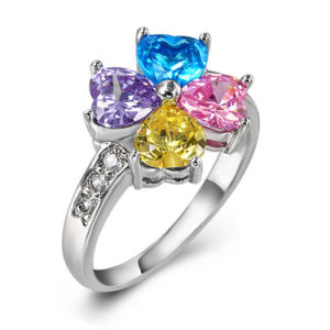 Lucky Leaf Designed Multi-Color CZ Jewellery Ring