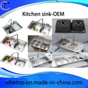 China Manufacturer Double Bowl Stainless Steel Sink with Drainer pictures & photos