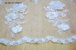 White Rayon Floral Lace Wedding Factory Vl-60137-3dbcp pictures & photos