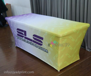 Customized No Wrinkle Tension Polyester Fabric Fitted Tablecloth pictures & photos