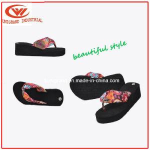 Fashion Flower Women Flip Flops Platform Wedges Sandals Slippers pictures & photos