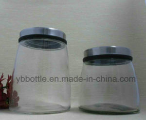 Large Size Storage Glass Jar, Clear Glass Straight Sided Jars W/ Black Phenolic Lined Caps