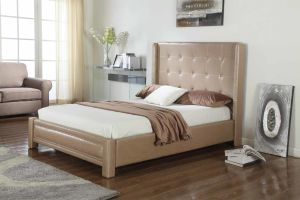 Modern Fabric Hotel Beige Home Bedroom Furniture with Wings