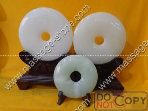 Pure White Jade Bi and Jade Disc for Home Decoration
