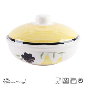 1000cc Ceramic Handpainted Soup Pot with Lid pictures & photos
