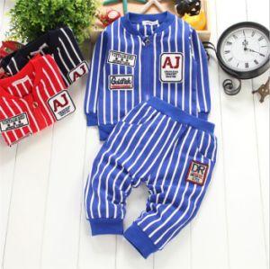 Ks1139 2015 Cotton Fashion Striped Boys Sports Sets Kids Clothes Spring Children′s Costumes Jacket & Pants 2 PCS Active Kids Suits Free Ship pictures & photos