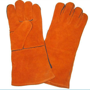 Red Cowhide Split Leather Welding Safety Work Glove pictures & photos