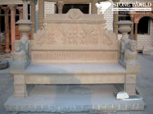 Hand Carved Pink Marble Garden Bench pictures & photos