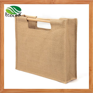 Handmade Vintage Eco Jute Bag with Wooden Handle pictures & photos