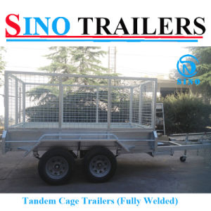 10X5 Hot Dipped Galvanized Tandem Axle Heavy Duty Cage Trailer with Spare Wheel pictures & photos