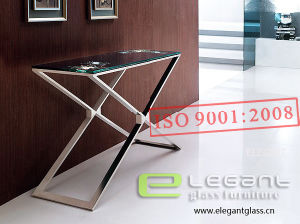 Popular Stainless Steel Console Table with Tempered Glass Top pictures & photos