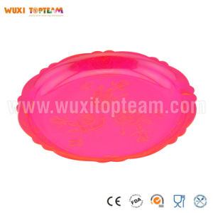 Plastic Floral Round Serving Tray (Pink)