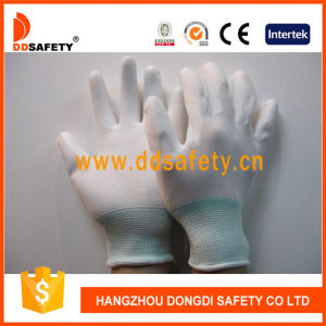 Ddsafety 13 Gauge White Nylon Liner Wrist White PU Coated Gloves pictures & photos