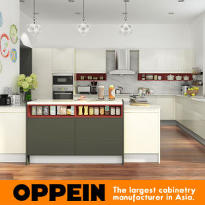 Modern White Grey High Gloss Lacquer Wooden Kitchen Cabinet (OP16-L15) pictures & photos