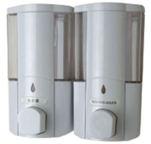 High Quality 400ml * 2 White Liquid Plastic Wall Soap Dispenser