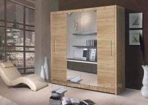 Modern Bedroom Wardrobe 2 Sliding Door with Mirror (HF-EY0731) pictures & photos