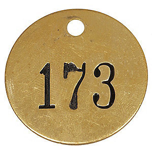Round Metal Brass Tag with Number 151 to 175 (1F030)