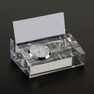 Crystal Business Table Name Card Holder with Clock Office Gift pictures & photos