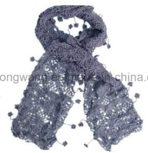 Lady Fashion Handmade Acrylic Knitted Crochet Scarf pictures & photos