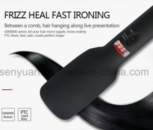 Brush Hair Straightener Comb Irons Come with LCD Display Electric Straight Hair Comb Straightening with Black and Pink pictures & photos