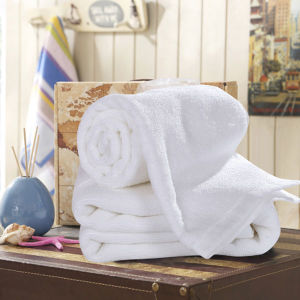 Shanghai DPF Textile Wholesale 100% Cotton Terry White Towel Used for Hotel pictures & photos
