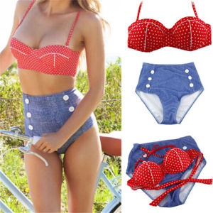 Sexy Women Bikini Bandeau Push up High Waist Swimwear (14344-2) pictures & photos