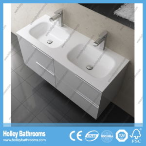 European Style MDF High Class Modern Bathroom Unit with Two Basins (BF115N) pictures & photos