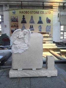 Beige Marble Angel Memorials with Vase pictures & photos