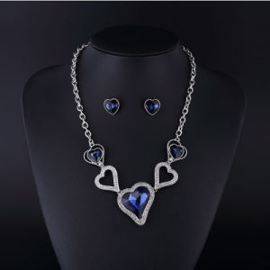 Heart Sharp Sapphire Crystal Rhinestone Necklace Sets pictures & photos