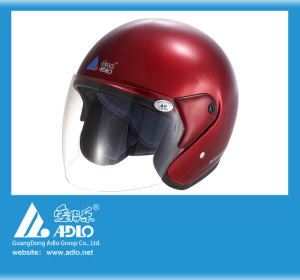 Adlo Red Open Face Motorcycle Helmet (05) pictures & photos