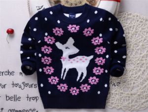 T1221 Autumn High Quality 100% Cotton Double-Layer Thick Baby & Kids Girl Deerlet Sweater Lovely Pullover Knitted Shirt Long Sleeve Children pictures & photos