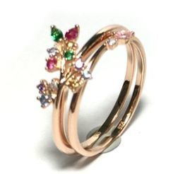 Fashion Jewelry Simple Design Small Style Color Crystal Stone Rose Flower Band Ring (SR3382) pictures & photos