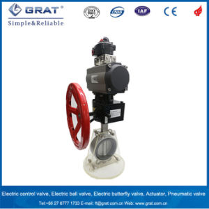 Dn300 Ss304 Double Action Pneuamtic Butterfly Valve with Manual Gear pictures & photos