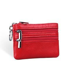 Women Leather Double Zipper Card Candy Color Coin Bags (BDMC071) pictures & photos
