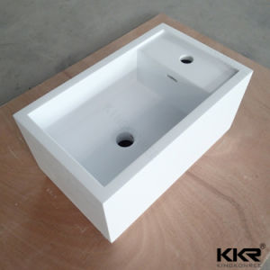 Quality Peacock White Bathroom Squareolid Surface Stone Bowl pictures & photos