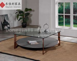 Tempered Glass Coffee Table with Stone Paint Tempered Glass pictures & photos