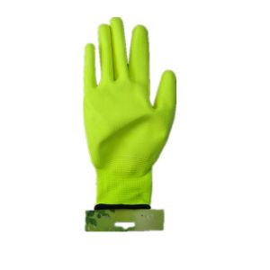 13G Polyester Liner Fluorescent Green Pul Glove PU Coated Glove (5537. Y) pictures & photos