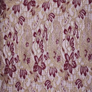 Jacquard Tricot Lace Fabric with Gold Metallic Yarn pictures & photos