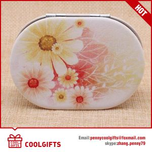 Round PU Leather Cute Foldable Cosmetic Pocket Mirror with Logo pictures & photos