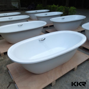 1800mm Hot Tub Solid Surface Bathroom Oval Shaped Bathtub pictures & photos