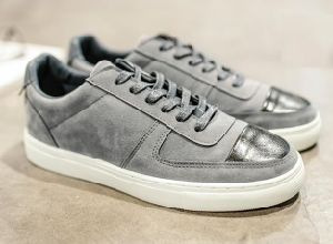 Gray Low Top Suede Leather Casual Shoes (CAS-059)