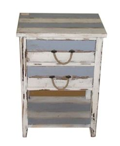 Wood Chest Blue Sea Cabinet Home Furniture